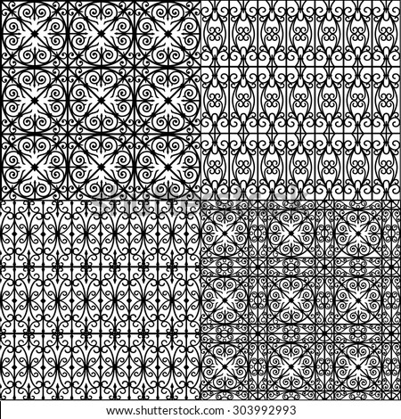 set of seamless pattern (black on white) - stock vector