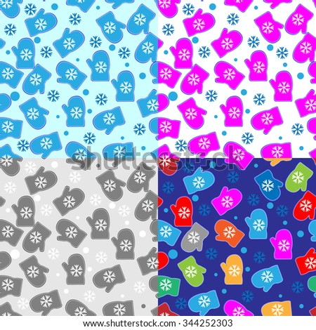set of seamless pattern with mittens - stock vector