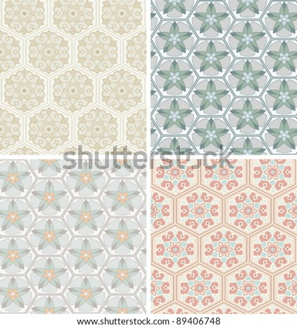 set of seamless pattern with simple ornaments - stock vector