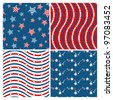Set of seamless patterns devoted to 4th of July - stock vector