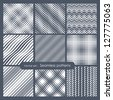 Set of seamless patterns. Diagonal dots, stripes, zigzag and checkered. Vector repeating texture, Geometric endless mesh - stock vector