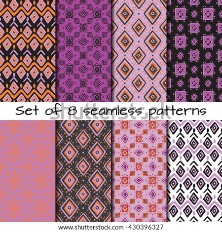 Set of 8 seamless patterns in ethnic style. Boho ornament. Tribal art print, background for fabric design, wallpaper, wrapping. - stock vector