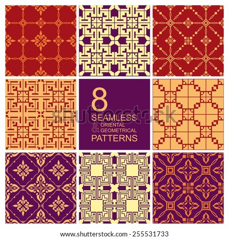 Set of seamless patterns in oriental and geometrical style. Islam, Arabic, Asian motifs - stock vector