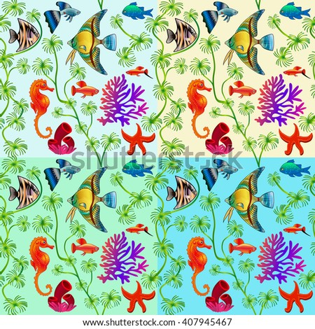 set of seamless patterns of marine life with colorful fishes and algae with different background colors - stock vector
