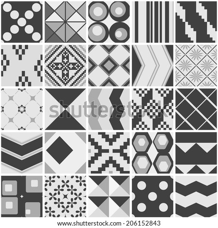 Set of 25 seamless patterns. Seamless pattern can be used for wallpaper, pattern fills, web page background, surface textures. - stock vector