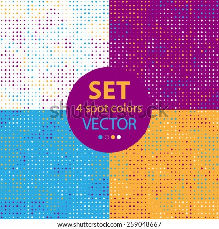 Set of seamless patterns.The composition of the halftone form .The transparency of the elements are represented by points.4 spot colors. For wrapping paper, tissue. Purple, blue and ochre colors. - stock vector