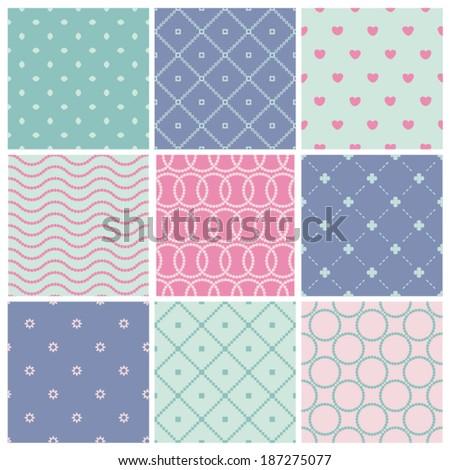 Set of seamless patterns. Vector illustration. - stock vector