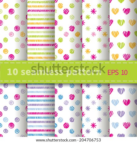 Set of 10 seamless patterns with colorful curls, stripes, circles, stars and hearts by hand - stock vector