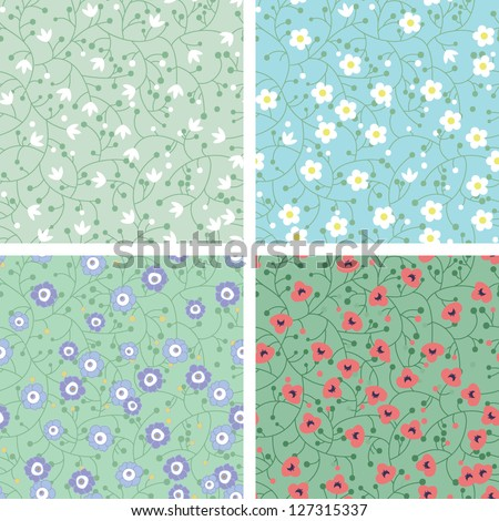 Set of seamless patterns with cute flowers - stock vector