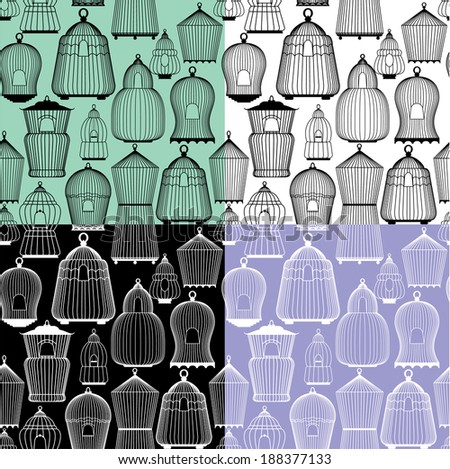 Set of seamless patterns with decorative bird cage Silhouettes. Ready to use as swatch - stock vector
