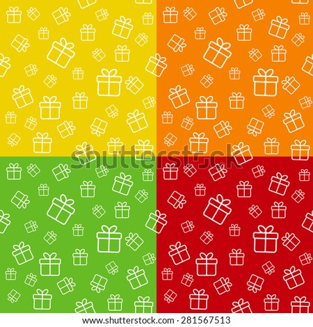 Set of seamless patterns with gift boxes - stock vector