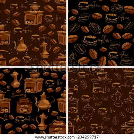 Set of 4 seamless patterns with handdrawn coffee cups, beans, grinder, coffee pot, calligraphic text COFFEE. Background design for cafe or restaurant menu. - stock vector