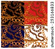 Set of seamless patterns with handdrawn Gold chains on black, red, blue and white backgrounds. - stock vector