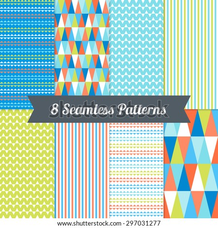 Set of Seamless Patterns with Triangles and Stripes in Light Blue, Cyan, Lime, Orange and White. Perfect for wallpapers, pattern fills, background, textile, birthday and wedding cards - stock vector