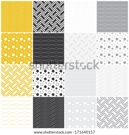 set of 16 seamless patterns with waves, circles, dots and lines, vector illustration - stock vector