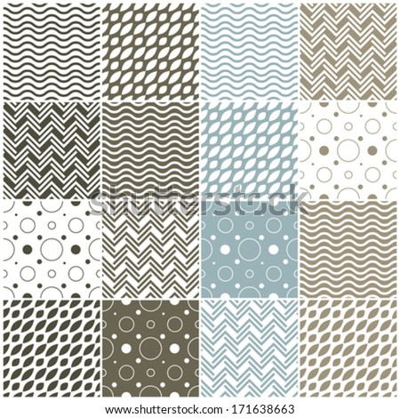 set of 16 seamless patterns with waves, polka dots and chevron, vector illustration - stock vector