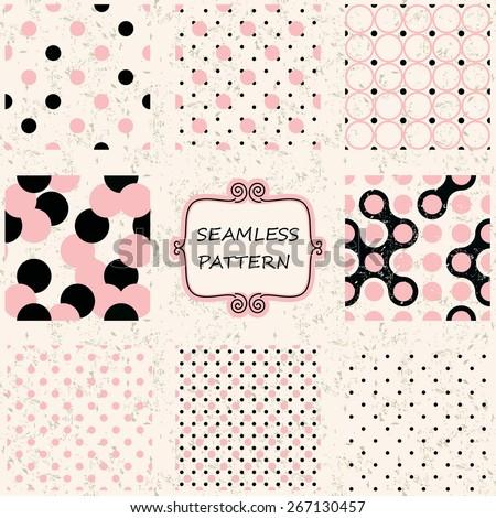 set of 8 seamless polka dot patterns  on shabby background - stock vector