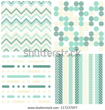 set of seamless retro geometric paper patterns in  turquoise  white and beige dots lines and chevron - stock vector