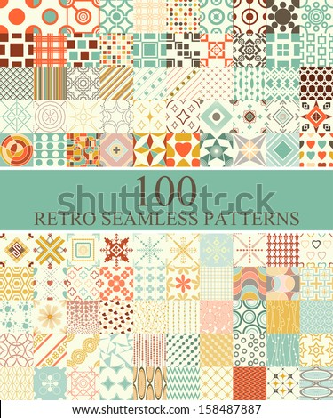 set of 100 seamless retro  patterns can be used for wallpaper, website background, textile printing - stock vector