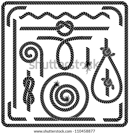 Set of Seamless Rope Design Elements - stock vector