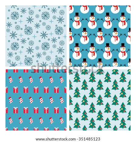 Set of seamless simple patterns symmetrical. Snowmen, presents, decorated Christmas tree background with snowflakes. Simple geometric patterns. - stock vector