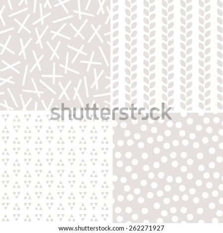Set of seamless stone and white geometric background patterns for gift wrapping paper, wedding, textiles and scrapbooking. Includes pickup sticks, leaves, triangles and polka dots with grunge overlay. - stock vector
