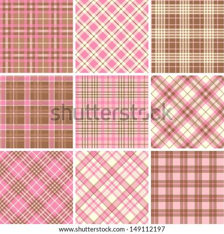 Set of seamless tartan patterns - stock vector