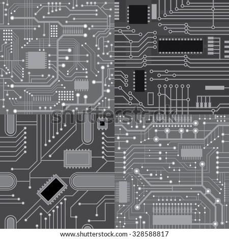 Set of seamless textures computer board - stock vector
