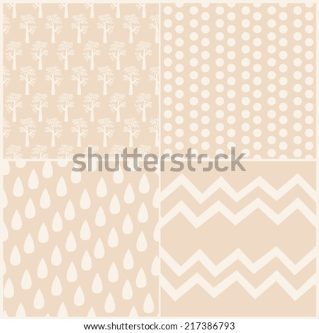 Set of 4 seamless vector patterns. Geometric stylish backgrounds.  - stock vector