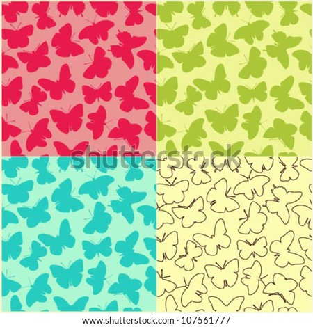 Set of 4 seamless vector patterns with various butterfly silhouettes - stock vector