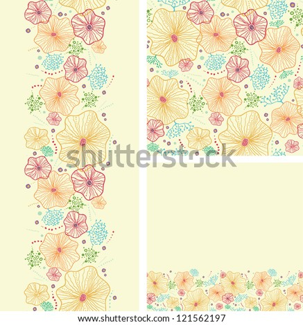 Set of seaweed plants seamless pattern and borders backgrounds - stock vector