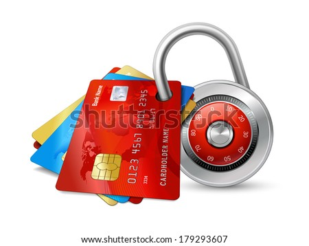 Set of secure credit cards with chips protected by encryption padlock isolated vector illustration - stock vector