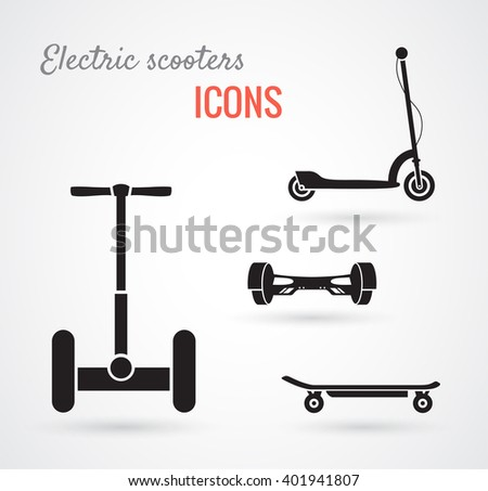 Set of self-balancing electric scooters icons isolated on white. Vector illustration, flat style - stock vector