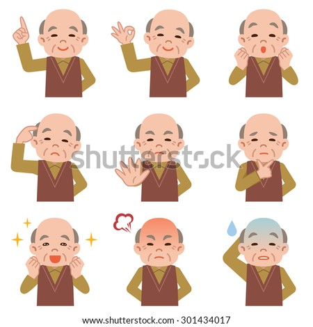 Set of Senior man facial expressions on white background - stock vector