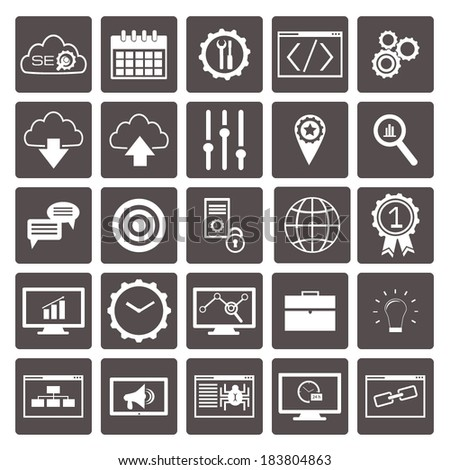 Set of SEO and development icons. Vector illustration - stock vector