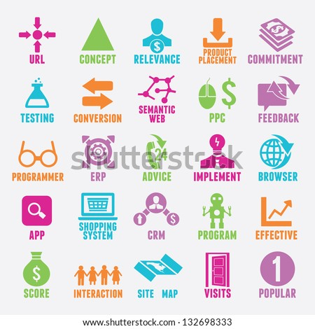 Set of seo and internet service icons - part 4 - vector icons - stock vector