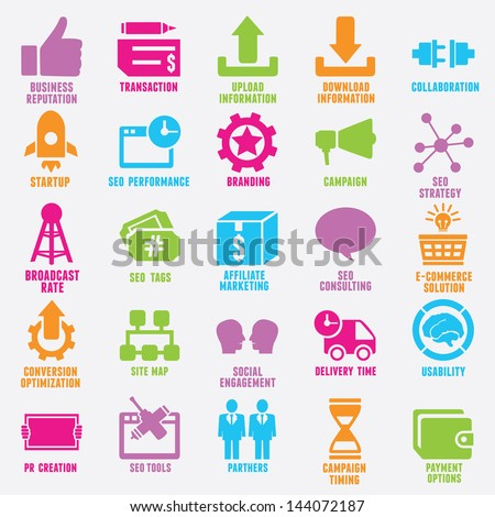 Set of seo and internet service icons - part 9 - vector icons - stock vector