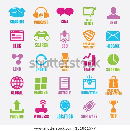 Set of seo and internet service icons - vector icons - stock vector