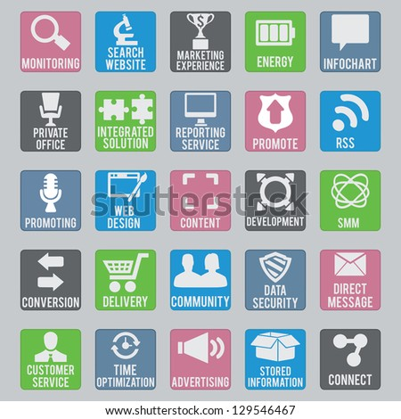 Set of seo icons - part 2 - vector icons - stock vector