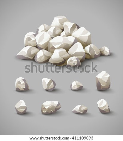 Set of separate rocks and stones pile vector illustration, eps10 icons set of materials and stuff for construction - stock vector