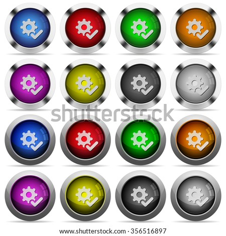 Set of Settings ok glossy web buttons. Arranged layer structure. - stock vector