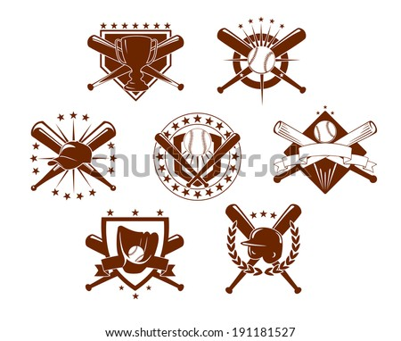 Set of seven different baseball emblems or logo depicting crossed bats with a trophy, glove, helmet, baseball with stars and shields - stock vector