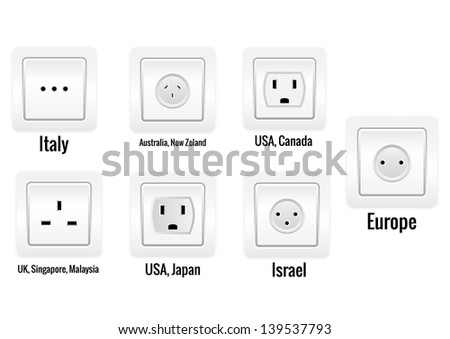 Set of seven international sockets isolated on white background. - stock vector