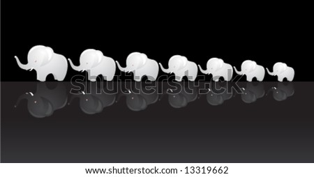 Set of seven porcelain elephants with ruby eyes on reflective surface. Feng shui and Buddhism/Hinduism symbol of luck. - stock vector
