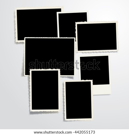 set of seven vector vintage blank photo frames with transparent shadow - stock vector