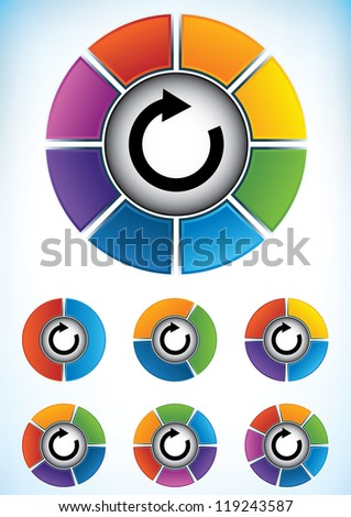 Set of seven wheel diagrams with different colors and numbers of divisions or components with a central directional flow arrow to be used as a business presentation template - stock vector