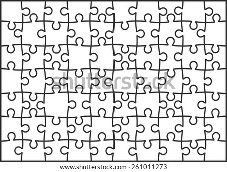 Set of seventy puzzle pieces. Vector illustration, eps 8. - stock vector