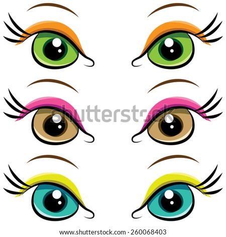 Set of several pairs of eyes. vector - stock vector