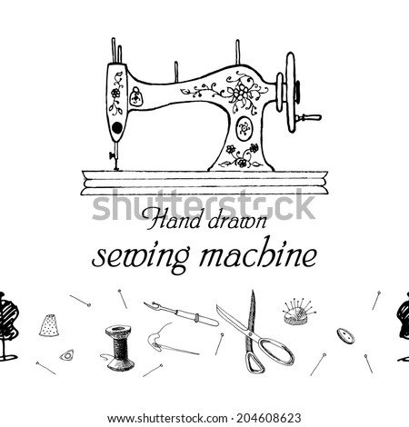 Set of sewing accessories. Swing machine. Hand drawn sketch. Vector illustration. - stock vector