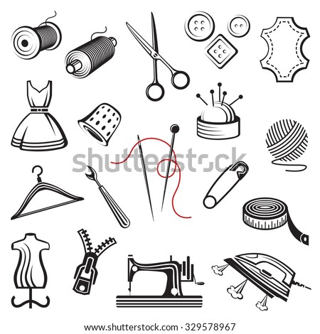 set of sewing and needlework icons  - stock vector